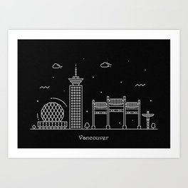 Vancouver Minimal Nightscape / Skyline Drawing Art Print