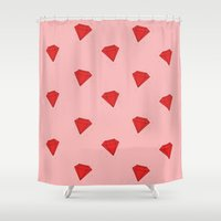 ruby Shower Curtains featuring Ruby  by Normandie Illustration