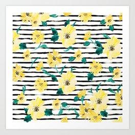 Happy flowers Stripe Art Print
