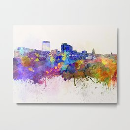 Manchester skyline in watercolor background Metal Print