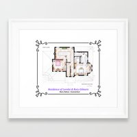 gilmore girls Framed Art Prints featuring House of Lorelai & Rory Gilmore - First Floor by nikneuk