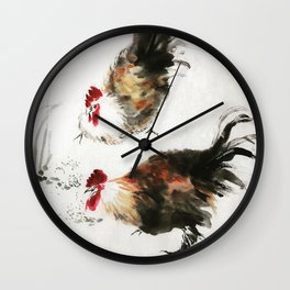 chinese painting roasters Wall Clock