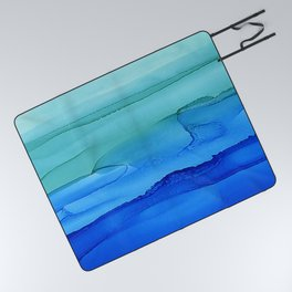 Alcohol Ink Seascape Picnic Blanket
