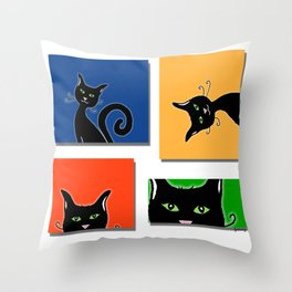 Cats in Squares Throw Pillow