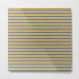 Faux Golden Glitter and Dark Grey Stripes Metal Print