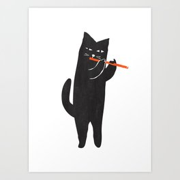 Black cat with flute Art Print