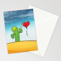 Spiky Cactus Flirting with a Heart Balloon Stationery Cards