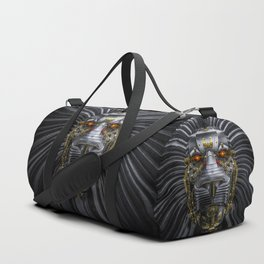 Hear Me Roar / 3D render of serious metallic robot lion Duffle Bag