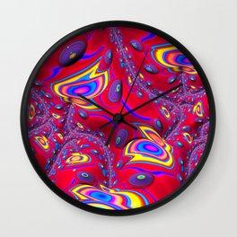 Red Eyes Fractal by Amanda Martinson Wall Clock