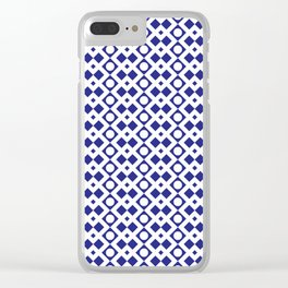 Geometric Pattern - Diamonds and Dots - Navy Blue & White Clear iPhone Case