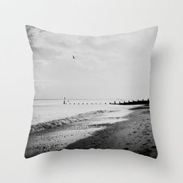 black and white Southwold beach photograph Throw Pillow