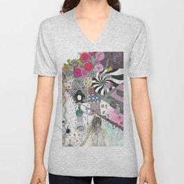 """""""Flowers""""  Illustrated print Unisex V-Neck"""