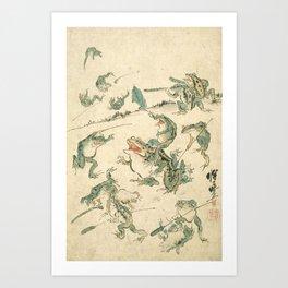 Battle Of The Frogs - Kawanabe Kyosai Art Print
