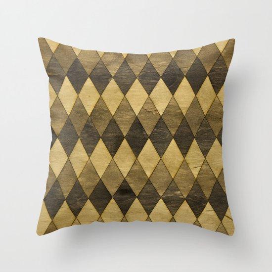 Wooden Diamonds Throw Pillow