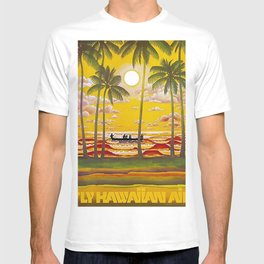 Surf Hawaii, Outrigger, Fly Hawaiian Air Vintage Travel Poster T-shirt
