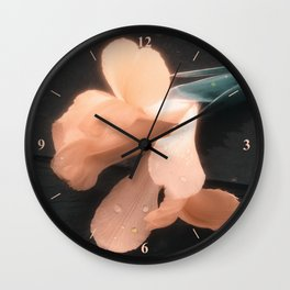 Flowers on Slate, variation 4 Wall Clock