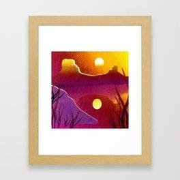 Golden Sunset Desert Landscape Digital Painting Framed Art Print