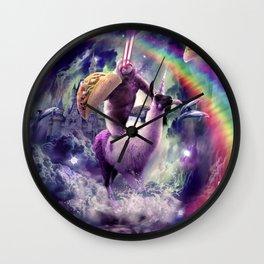 Rainbow Laser Sloth On Llama Unicorn Eating Taco Wall Clock