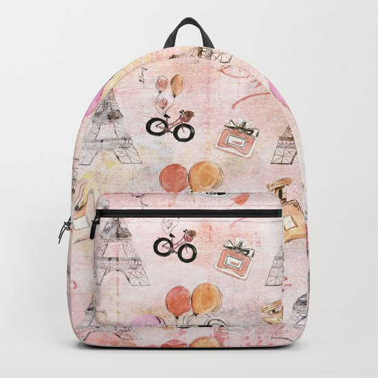 Paris Love Valentine Vintage Eiffeltower Perfume Pattern in pink Backpack