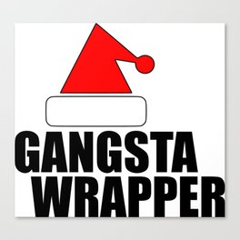 funny Xmas wrapper Santa hat Canvas Print