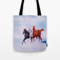 horses Tote Bags featuring horses by shannon's art space