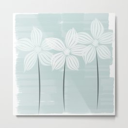 Watercolor Flowers in White and Mint Metal Print