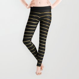 Elegant Chic Yellow Gold Stripes and Black Leggings