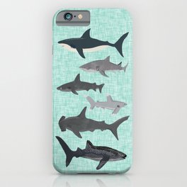 Sharks nature animal illustration texture print marine biologist sea life ocean Andrea Lauren iPhone Case