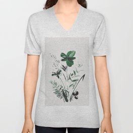 Green Flowers Unisex V-Neck