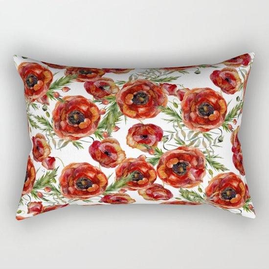 Poppy Pattern On White Background Rectangular Pillow
