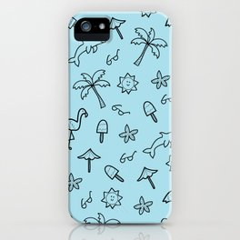 Summer Vacation Print - Light Blue iPhone Case