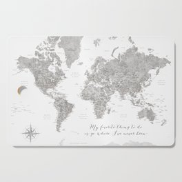 Where I've never been detailed world map in grey Cutting Board