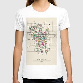 Colorful City Maps: Calgary, Canada T-shirt