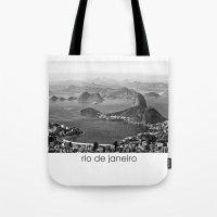 rio de janeiro Tote Bags featuring Rio De Janeiro by ricardoaguiar
