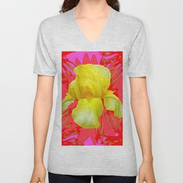 YELLOW IRIS MODERN ART RED FLORAL ABSTRACT Unisex V-Neck