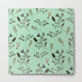 Mint Green and Bluebells and Bluebirds Floral Pattern Flowers in Blue and Bark Brown Metal Print