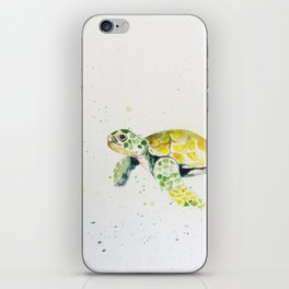 turtle watercolor art iPhone Skin