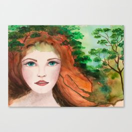 Watercolors redhead girl portrait with trees painting Canvas Print