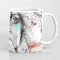 kate moss Mugs featuring Kate Moss by Leo Tezcucano by Leonardo Tezcucano