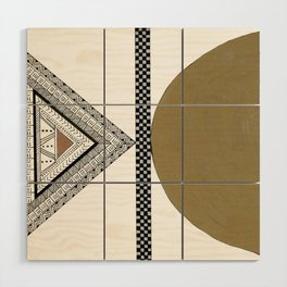 Geometric Shapes with Gold, Copper and Silver Wood Wall Art