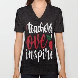 teachers love inspire Unisex V-Neck