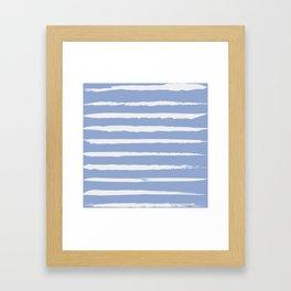 Irregular Hand Painted Stripes Light Blue Framed Art Print