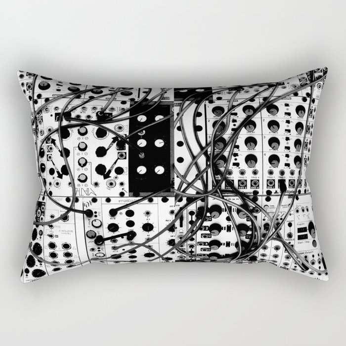 analog synthesizer system - modular black and white Rectangular Pillow