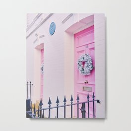 Pink Holiday Door in Notting Hill London England Metal Print