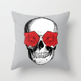 Skull and Roses | Skull and Flowers | Vintage Skull | Grey and Red | Throw Pillow