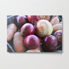 Kitchen Still Life: Onions and Sweet Potato Metal Print