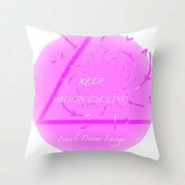 Keep Moon Cycling Throw Pillow