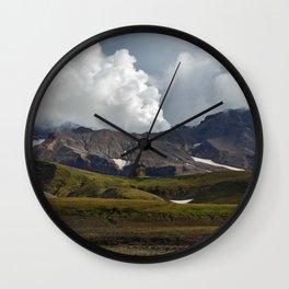 Autumn view of active volcano on Kamchatka Peninsula Wall Clock