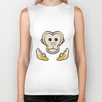 monkey Biker Tanks featuring Monkey by Nir P