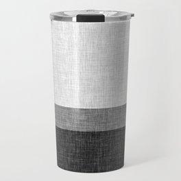 Black and White Graphic Burlap Pattern Stripe Travel Mug